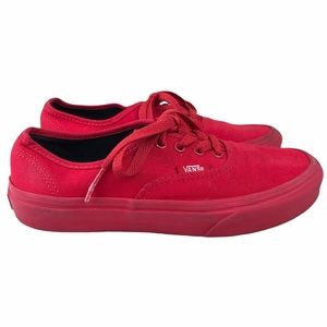 Vans Red Low Top Canvas Sneakers Size 3.5
